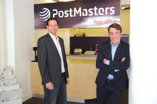 Michel Krijgsman links en Alex de Ruijter Van PostMasters aan de Goudsesingel te Rotterdam
