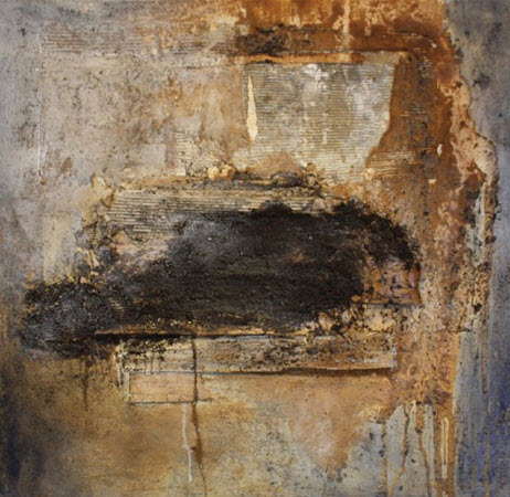Materiekunst van Loes Ham, 120 x 120 cm