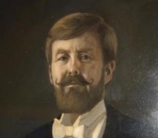 Omstreden Kroonprins Pils portret in cafe Sunset
