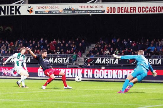 Excelsior-speler Ninos Gouriye raakte zaterdag twee keer de paal