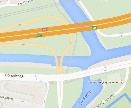 Afrit Crooswijk A20 twee weken dicht