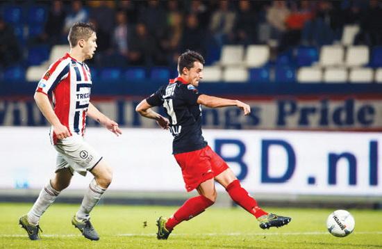Tegen Willem II pakte Excelsior jongsleden zaterdag voor de vierde achtereenvolgende keer punten in een uitwedstrijd. Daryl van Mieghem maakte de winnende treffer. Foto: Jan den Breejen