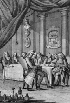 Dit is een plaatje van het eerste gezelschap dat is opgericht om natuurwetenschappelijke experimenten uit te voeren: de Accademia del Cimento (= Akademie van het Experiment), Florence, 1657. 'Mij spreekt dit plaatje een tale', licht ik, alweer lichtelijk overdrijvend, toe; de woordkeus is geïnspireerd op de Vlaamse dichter Guido Gezelle (1830-1899), die met zijn dichterlijke oog de gebarentaal van de bloemen kon lezen ['Mij spreekt de blomme een tale']. Wat ik in verband met de strekking van mijn stukje aan dit plaatje aflees, zou ik aldus kunnen samenvatten: 'Ik zie aan dit beeld dat het deze heren net zo min zou kunnen invallen hun wetenschappelijk werk op onbetrouwbare wijze te verrichten, als het, zuiver technisch,  biologisch niet mogelijk is je eigen leven te beëindigen door je adem in te houden'.