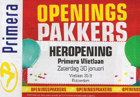 primera openings pakkers vlietlaan
