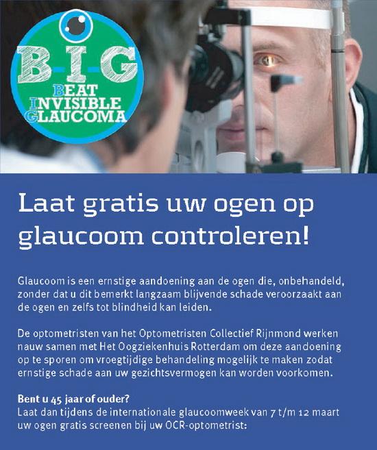 Laat van 7 t/m 12 maart gratis uw ogen op glaucoom controleren