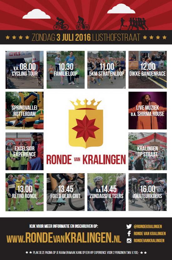 Programma Ronde van Kralingen 3 juli 2016