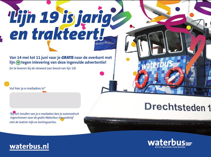 Waterbus Lijn 19 is jarig en trakteert!