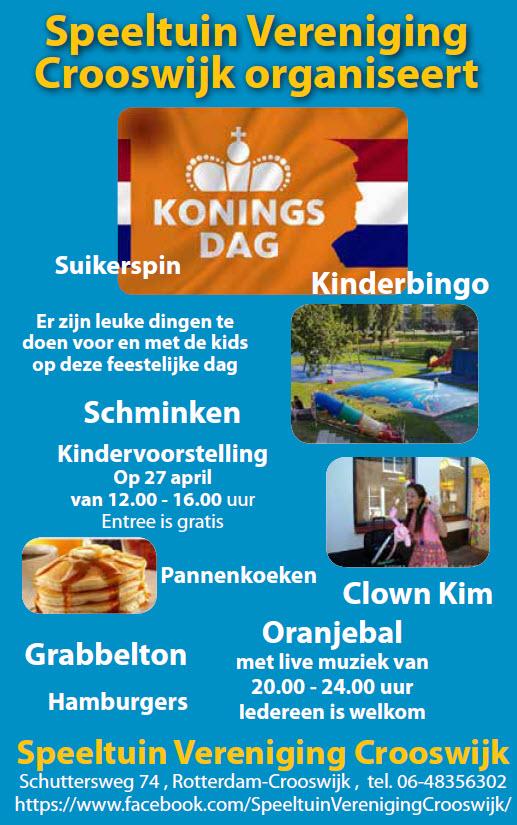 Speeltuin Vereniging Crooswijk organiseert koningsdag