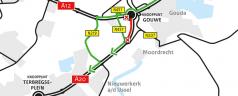 Afsluiting A20 vanuit Gouda richting Rotterdam 18 en 19 oktober