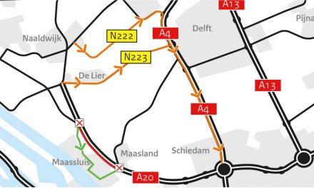 Weekendafsluiting A20 tussen Maasdijk en Maasland