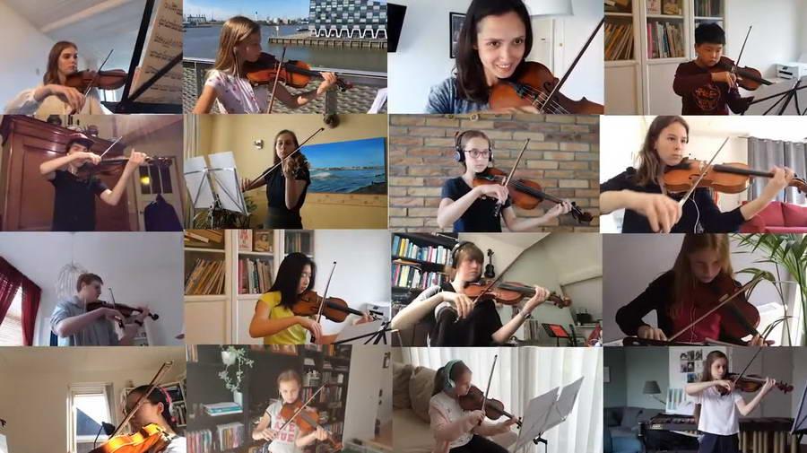 Allemaal thuis, maar toch samen optreden Online orkest met 70 Rotterdamse jongeren
