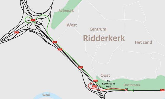 Verbindingsweg A15 met A16 richting Breda weekend dicht